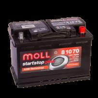 автомобильный аккумулятор Moll AGM START-STOP PLUS 70 R+