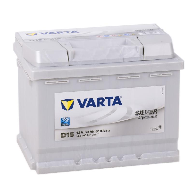 Аккумулятор автомобильный Varta Silver D15 63R 610A 242x175x190