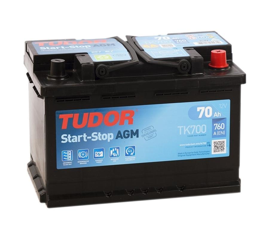 Аккумулятор TUDOR  AGM 70 А/ч TK700 ОБР EN760