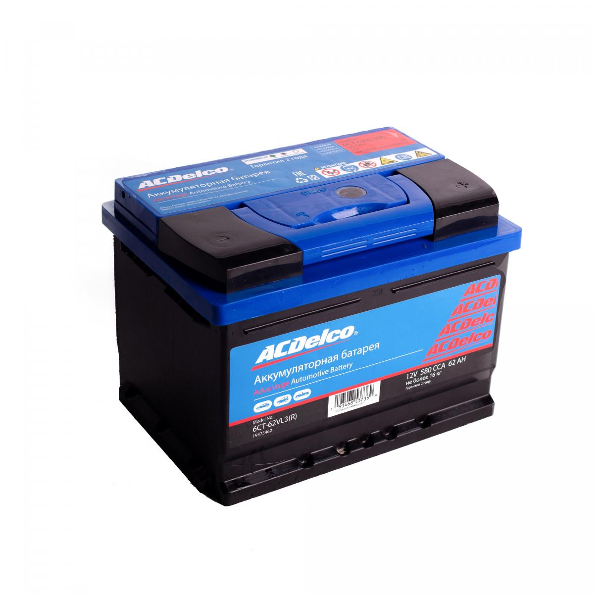 Аккумулятор ACDelco 62 А/ч обратная R+ EN580 А