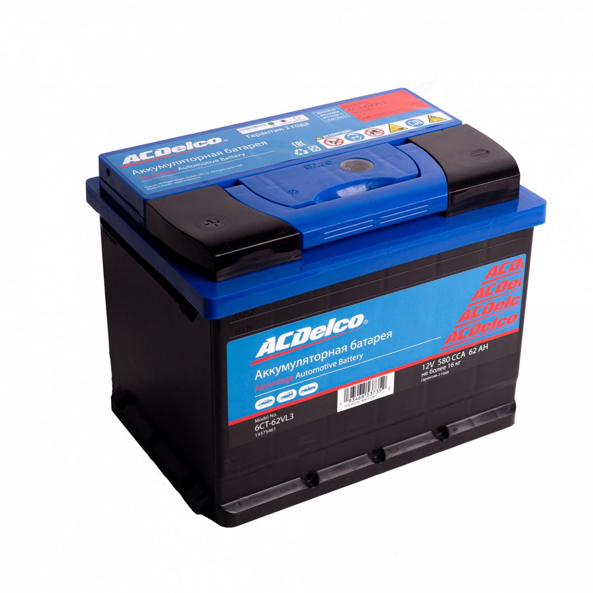 Аккумулятор ACDelco 62 А/ч прямая L+ EN580 А