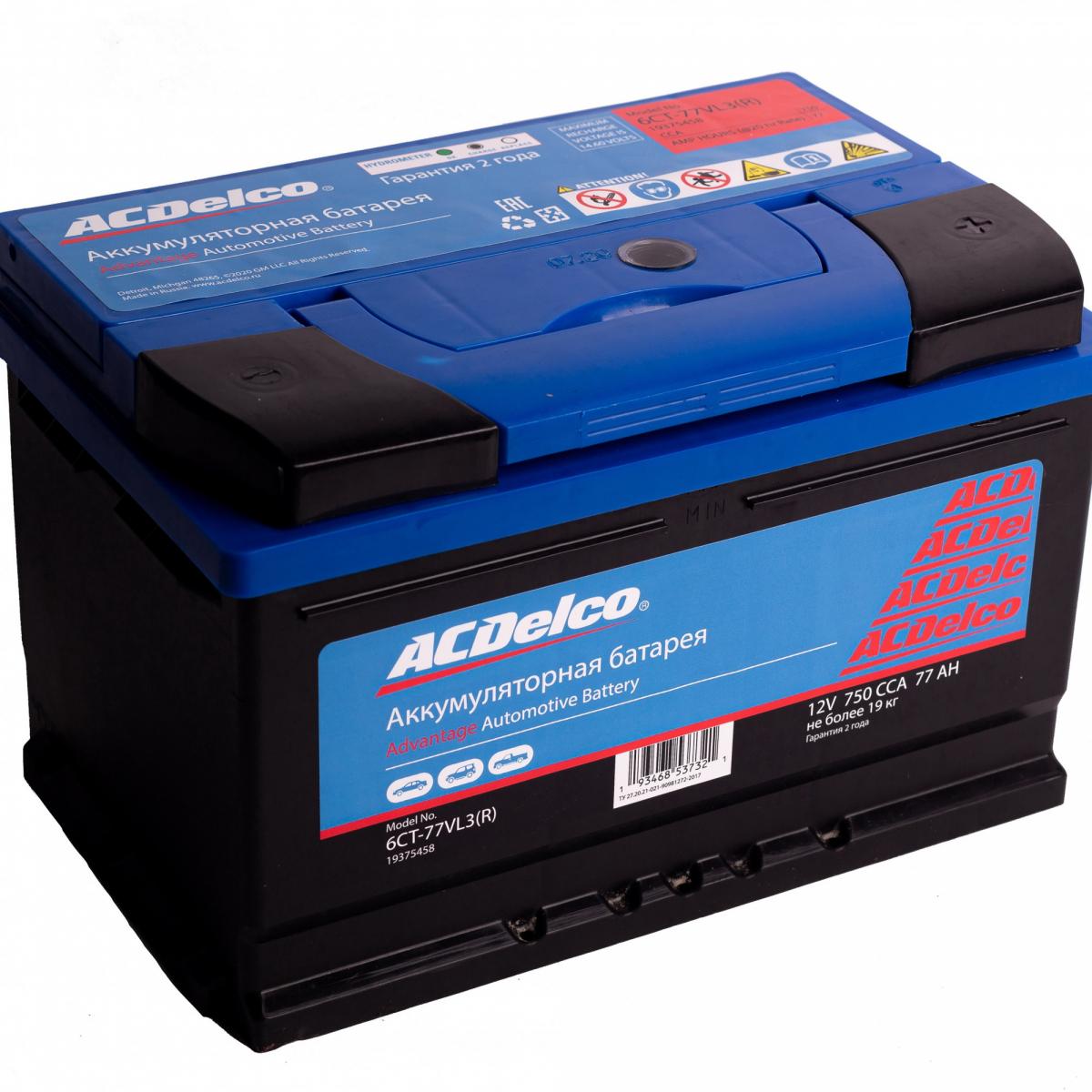 Аккумулятор ACDelco 77 А/ч обратная R+ EN750 А