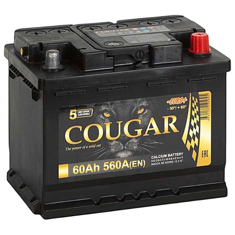 COUGAR Power 60 А/ч L+ 560А