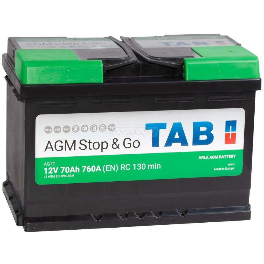 TAB AGM Stop&Go 70Ah 760A R+