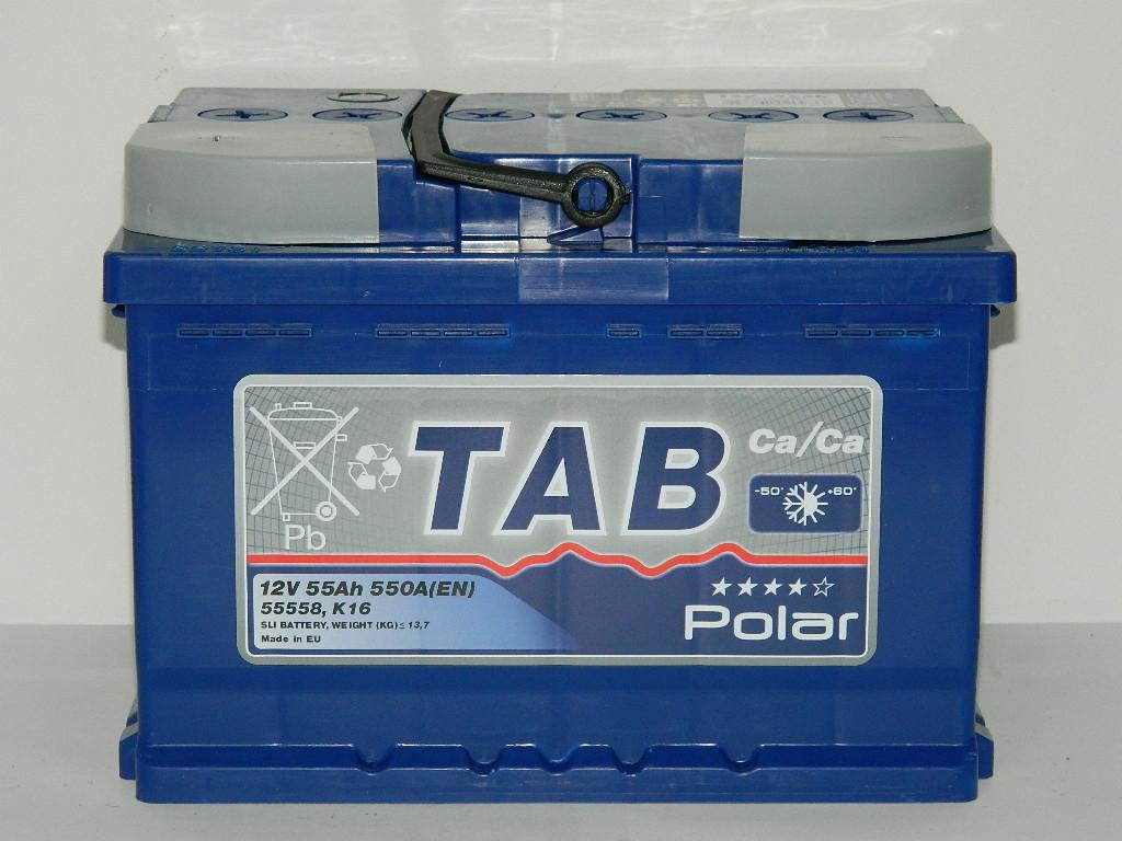 TAB Polar  55Ah 500A R+,низкий