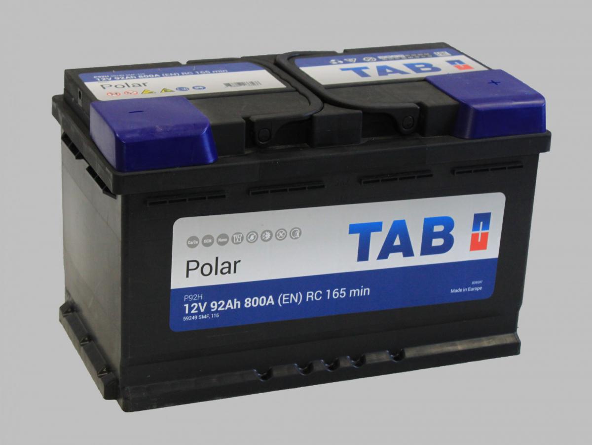 TAB Polar 92Ah 800A R+,низкий