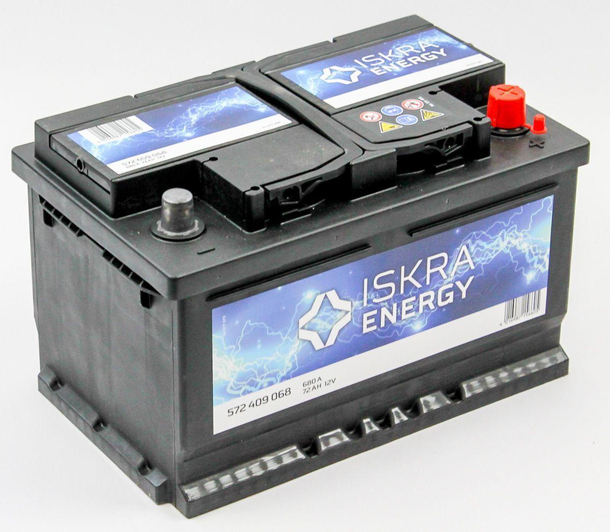 ISKRA ENERGY 72Ah 680A R+,низкий