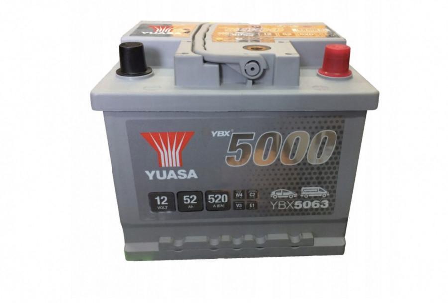 YUASA YBX5063-052 52Ah 520A R+,низкий