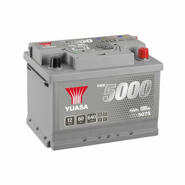 YUASA YBX5075-060 60Ah 640A R+,низкий