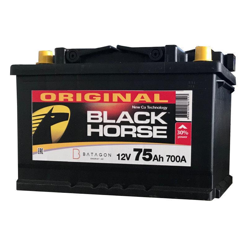 Black Horse 75Ah 700A R+,низкий
