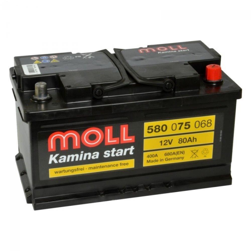 MOLL Kamina 80Ah 680A R+,низкий